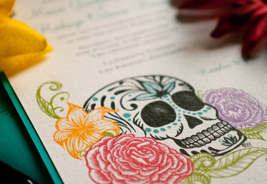Day Of The Dead Wedding Invitations: Day Of The Dead Elegant Bright Wedding Invitations