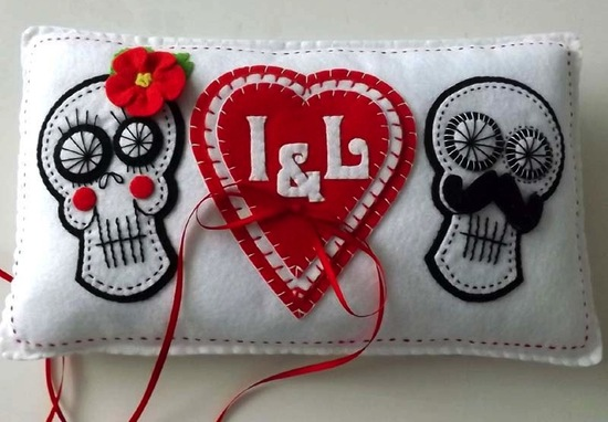 stitched wedding ring bearer pillow for Day of the Dead