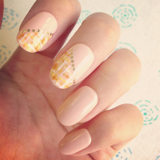 peach and gold wedding nails