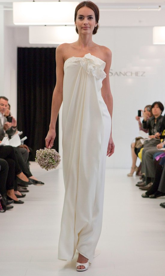 Strapless sheath wedding dress