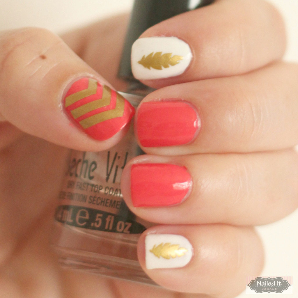 coral ivory gold wedding manicure