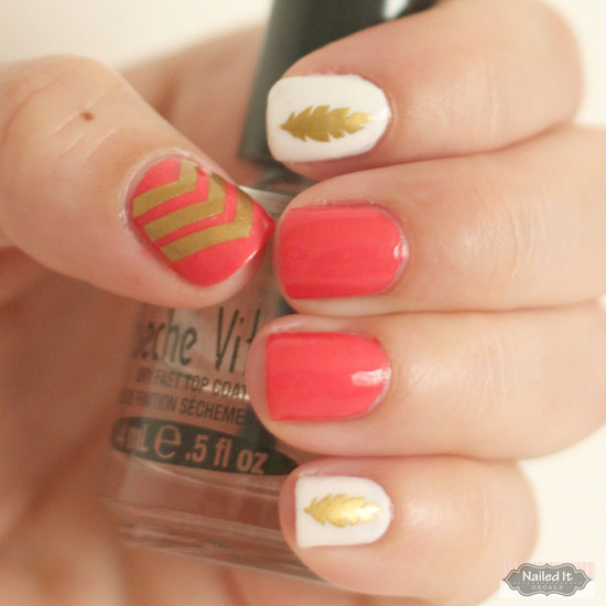 photo of coral ivory gold wedding manicure
