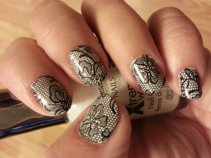 black lace over beige wedding nails