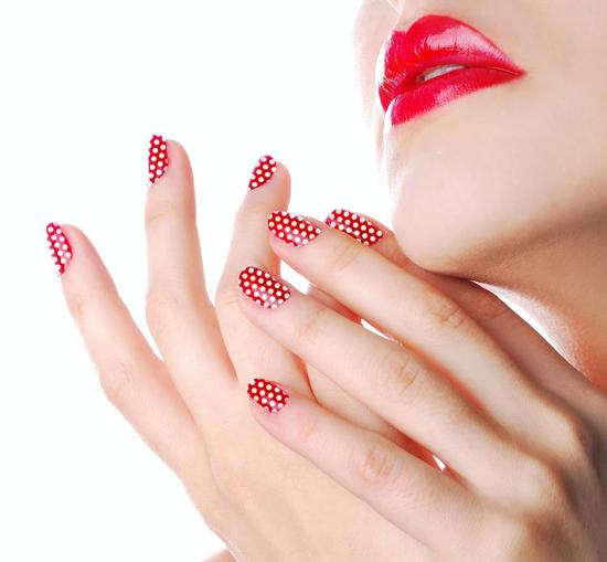 Jamberry Nails for modern brides red and white polka dots