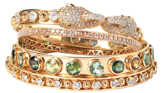 Stackable gold wedding bands with diamonds and jewels
