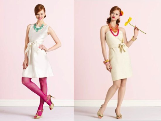 Kate Spade little white dresses with colorful accessories