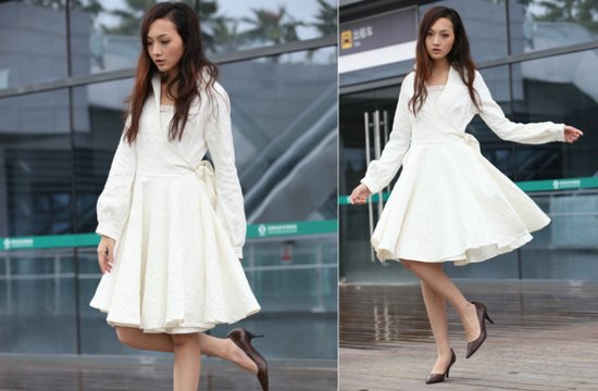 Classic ivory coat with flounce skirt