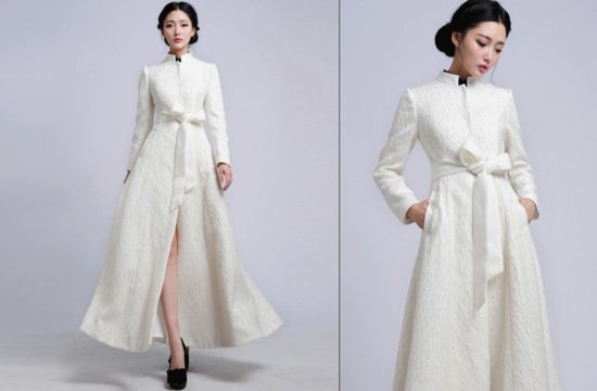 Long ivory wedding coat with vintage inspired collar