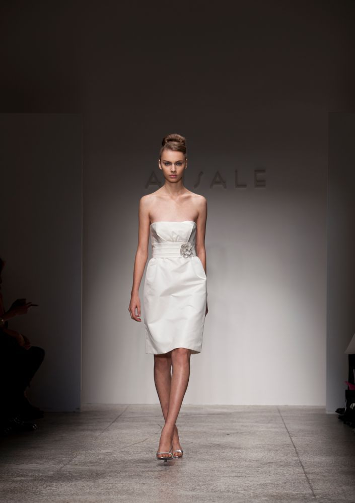Strapless little white dress for wedding reception