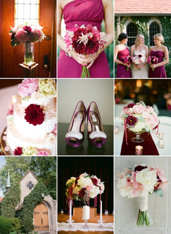 romantic fall wedding color palette of wine blush and cream