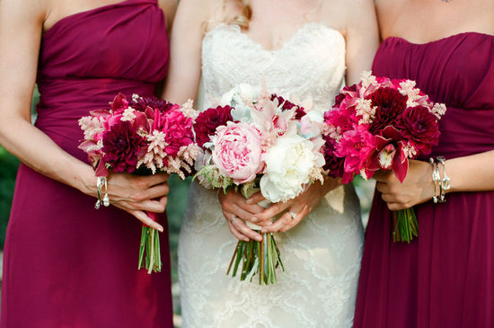 Fall wedding with a romantic wine blush and cream color palette