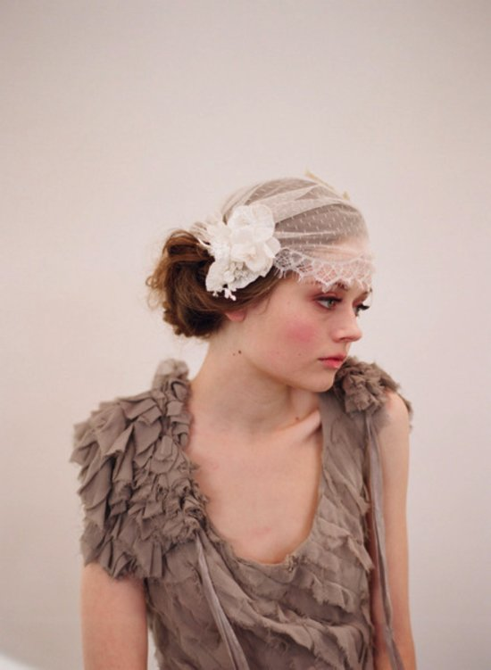 Romantic ivory lace bridal cap with vintage flower accent