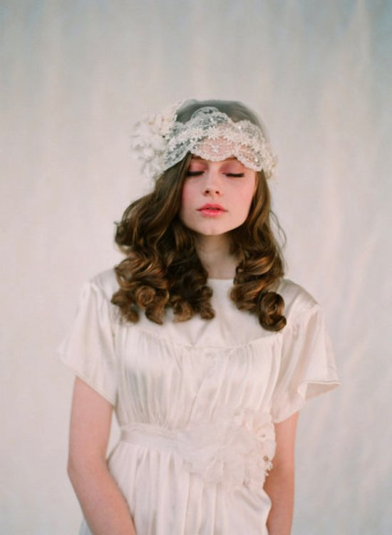 Vintage-inspired lace bridal cap by Twigs and Honey