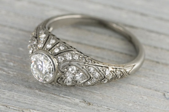 intricate early art deco engagement ring