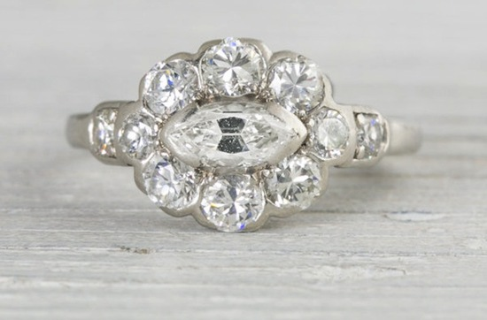 vintage art deco marquise engagement ring
