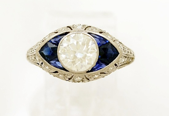 platinum sapphire and diamond wedding ring from the art deco period