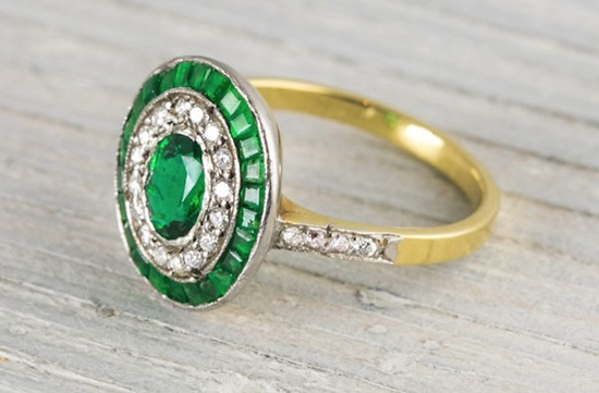 art deco emerald diamond and yellow gold engagement ring