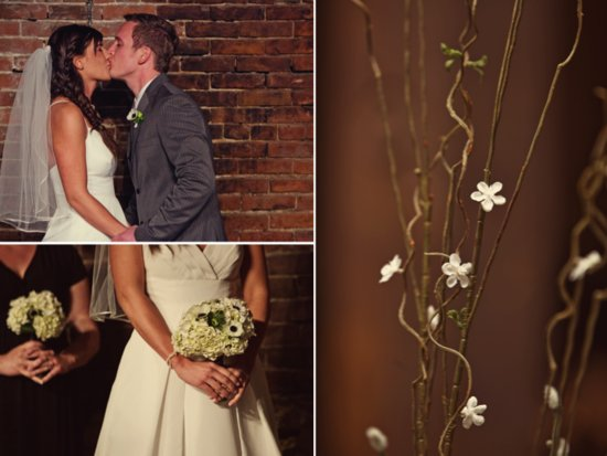 Bohemian bride kisses funky low-key groom after saying I Do at wedding ceremony