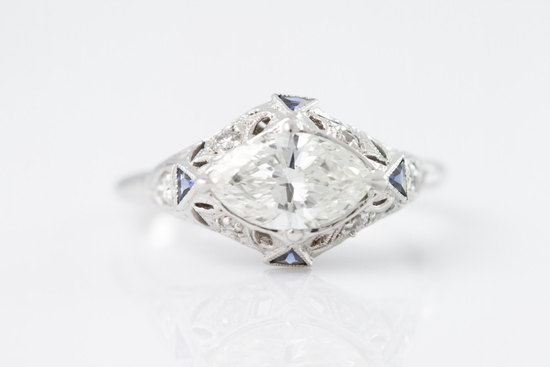 platinum diamond and sapphire art deco engagement ring