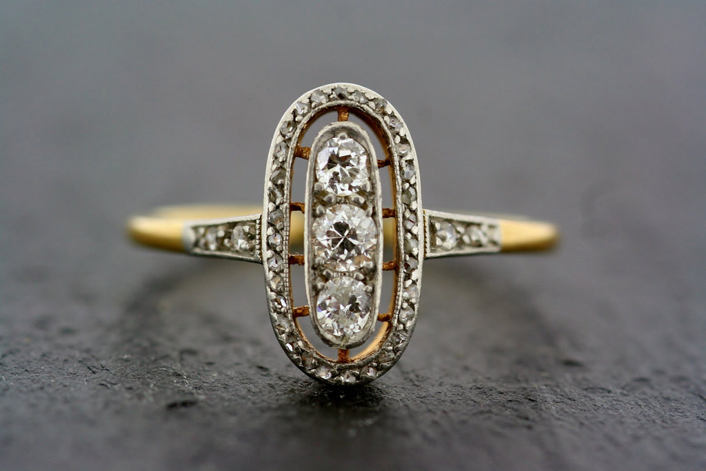 antique gold and diamond art deco engagement ring - Art Deco Wedding Ring