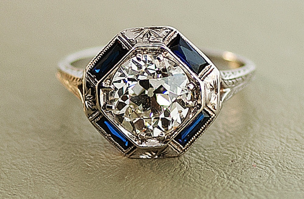 1920s Antique Engagement Ring With Center Diamond And Sapphire Accents