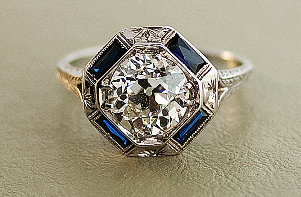 1920s antique engagement ring with center diamond and sapphire accents. Black Bedroom Furniture Sets. Home Design Ideas