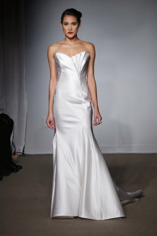 pleated neckline wedding dress from Fall 2014 Anna Maier