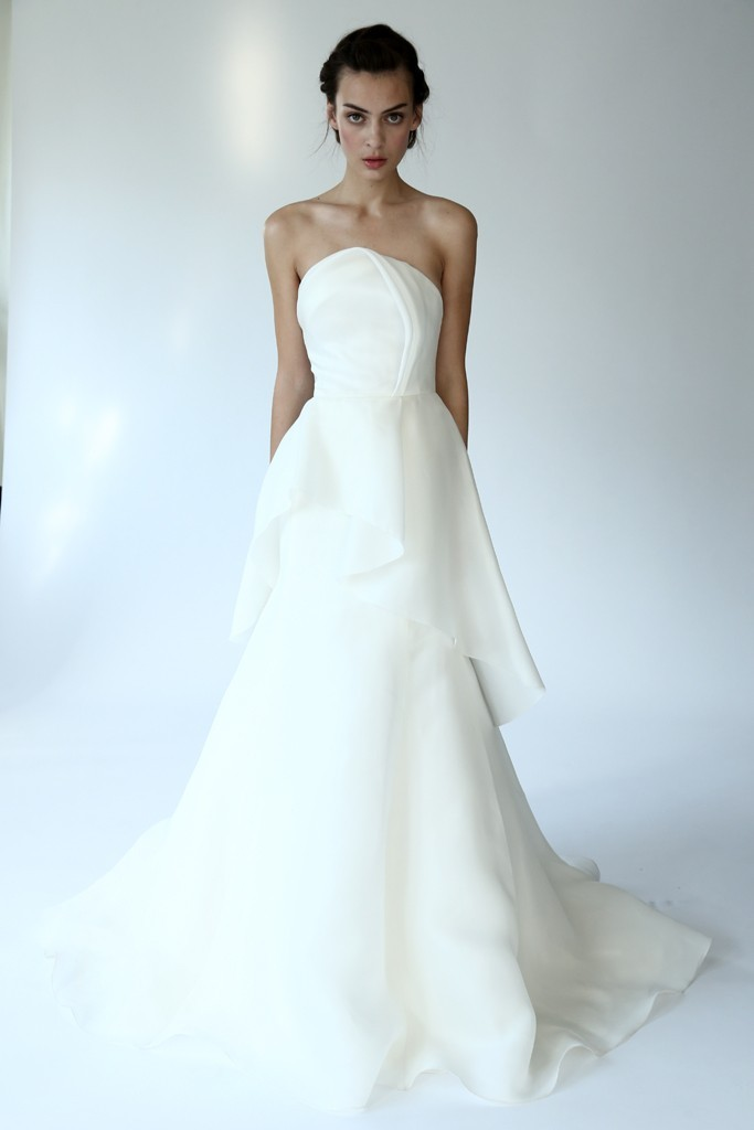 Lela Rose wedding dress spotlighting pleats trend from Fall 2014 bridal