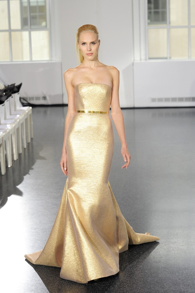 glamorous gold wedding dress by Romona Keveza