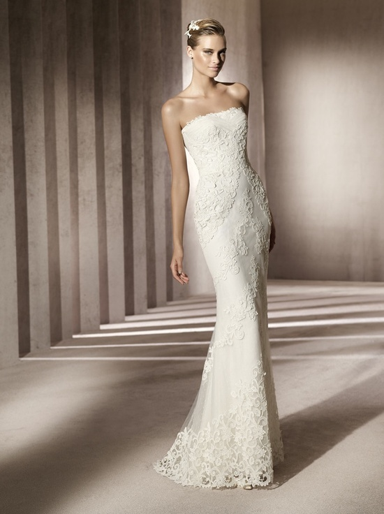 Simple strapless lace wedding dress with beading embellishment