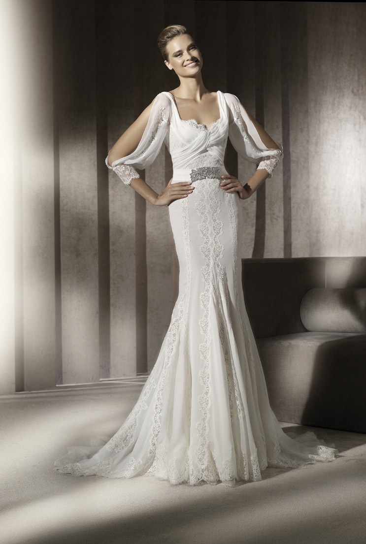 Lace Mermaid Wedding Gowns With Sleeves : Lace mermaid wedding dress with sleeves and embellished bridal belt