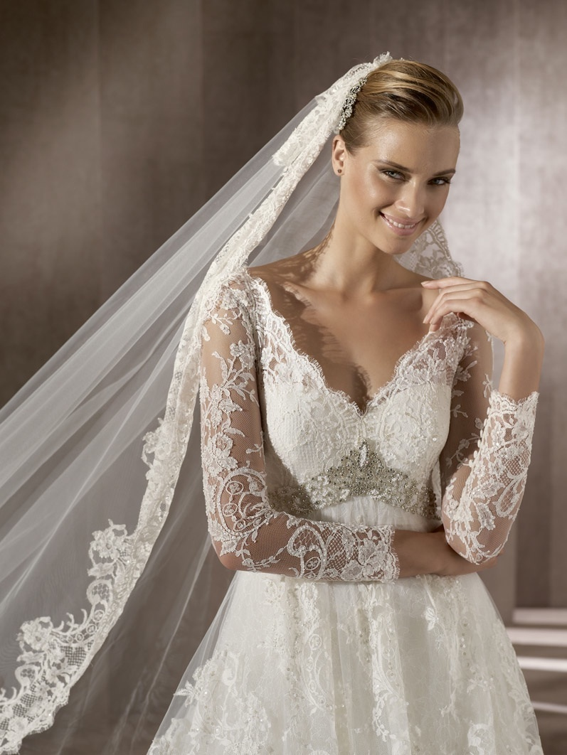 Romantic Lace Wedding Dress With Sheer Sleeves Traditional Bridal Veil