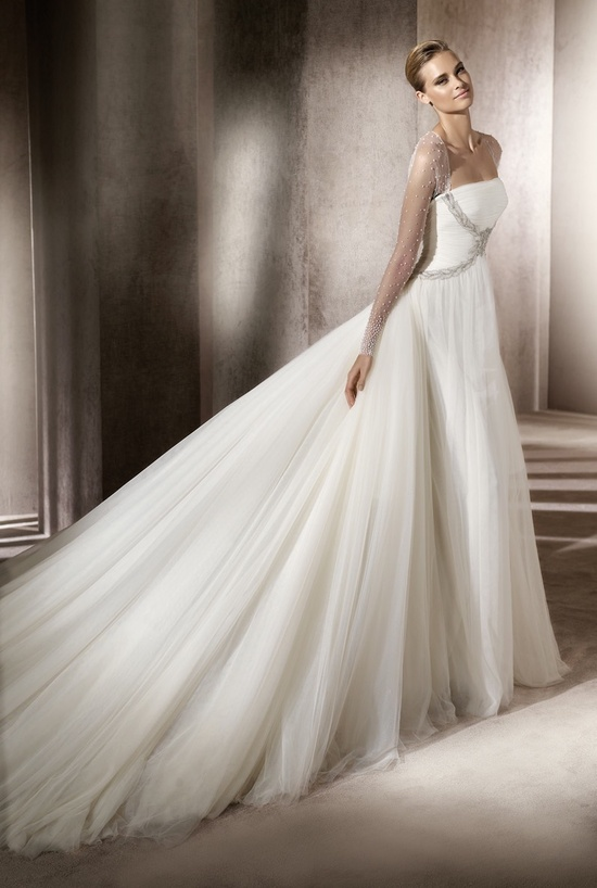 Romantic tulle ballgown wedding dress with sheer illusion sleeves