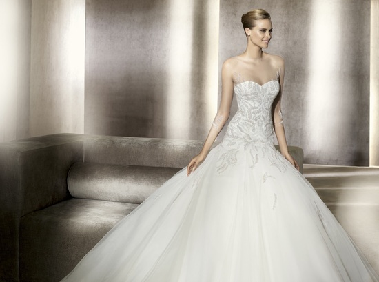 Tulle ballgown with sheer illusion neckline