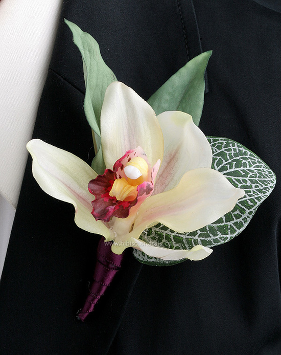 wine-real-touch-cymbidium-orchid-boutonniere-1