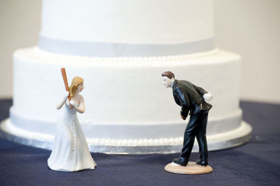 Baseball themed bride and groom wedding cake toppers