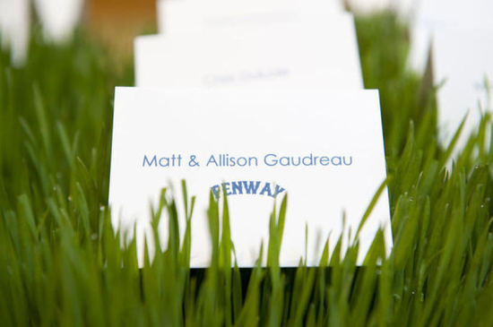 Fenway baseball themed wedding escort cards