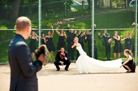 bride batter up awesome wedding photo
