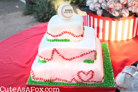 3 tier baseball themed wedding cake