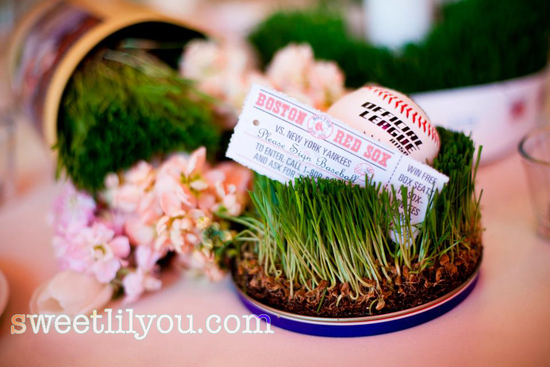 Vintage baseball wedding reception decor