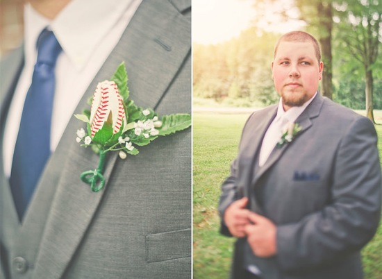 groom wears charcoal gray suit with baseball boutonniere