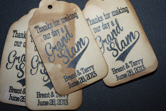 Grand slam wedding favor tags