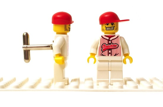 Baseball lego wedding cufflinks