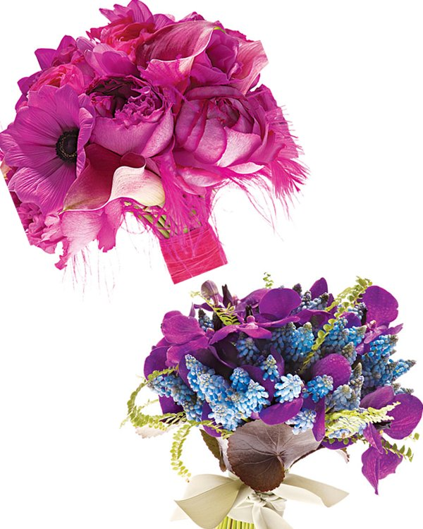 Fuschia peony bridal bouquet with feathers; tropical blue and purple orchid bouquet