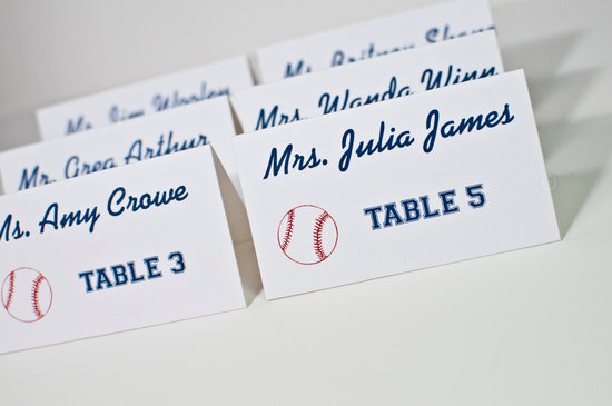 modern baseball wedding escort cards