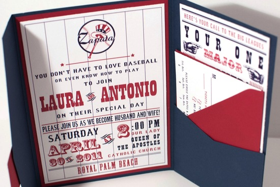 Vintage Baseball Themed Wedding Invitation In White Navy And Red