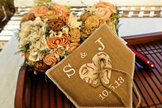 burlap baseball wedding ring pillow