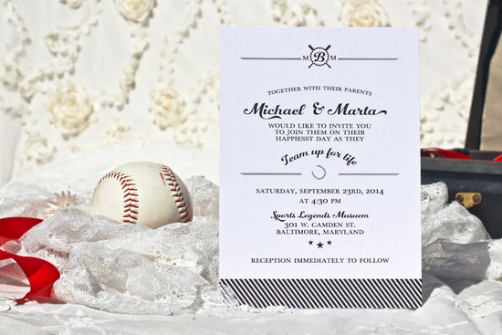Elegant baseball themed black and white wedding invite