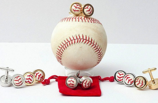 baseball wedding cufflinks in silver and gold