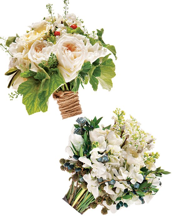 Romantic ivory wedding flower bridal bouquets